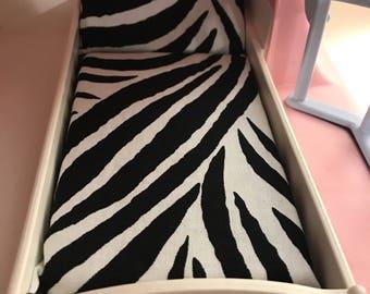 Dollhouse Mattress- fits LITTLE TIKES vintage dollhouses- zebra