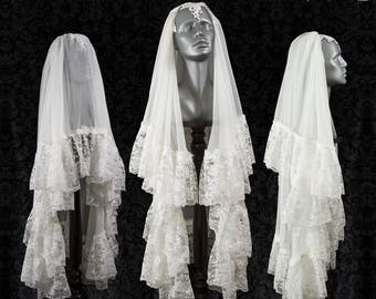 Veil Nimbata ivory, off white, victorian, elven, fantasy wedding, sample pre-sale, Somnia Romantica by Marjolein Turin