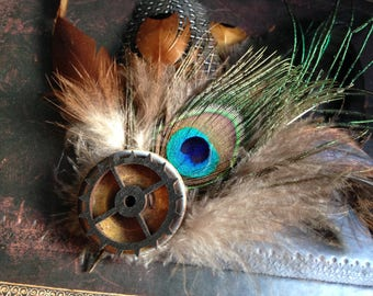 Feather Hat Clip, Steampunk, Peacock