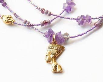 Amethyst Nefertiti Waist Beads, Purple Healing Waist Beads, African  Waist Beads,Spiritual  Belly Chains, Belly Beads