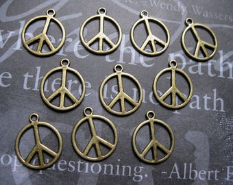 SALE - 10 Peace Sign Charms in Bronze Tone - C967