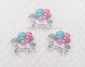 1pc - Kitschy Little Twin Stars Pegasus Ride Acrylic Decoden Cabochon (45mm) LTS011