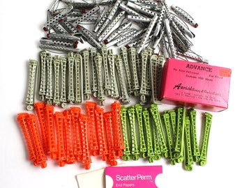 Vintage Hair Rollers Curlers / Perm Metal Plastic 80+ End Papers Some Goody Styling