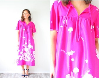 40% OFF CHRISTMAS in JULY Vintage boho pink floral dress // vintage nightgown // summer floral dress // swim cover up // modest floral casua