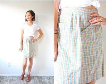 40% OFF CHRISTMAS in JULY Vintage plaid mini skirt // pencil pastel plaid skirt // XSmall body con mini skirt // Boho classic wool plaid ski