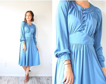30% OFF SALE Vintage boho long sleeve midi dress // 50's 60's shiny blue summer fall dress // boho modest a-line dress // long sleeve boho s