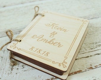 Book Ring Holder Ring Bearer Pillow Alternative Wedding Ring Book Engraved Wood Ring Box Book