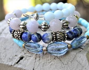 SODALITE BLUE JADE Czech Glass Royal Blue Tassel Memory Wire Bracelet