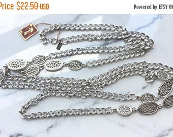 SUMMER SALE Beautiful Vintage Long Silver Tone Metal Signed Monet  Necklace with Original Hangtag