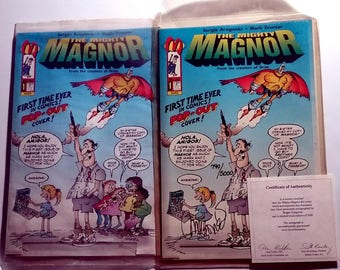 Mighty Magnor #1 Comic Book with Authentic Sergio Aragones autograph plus sealed regular copy 1993