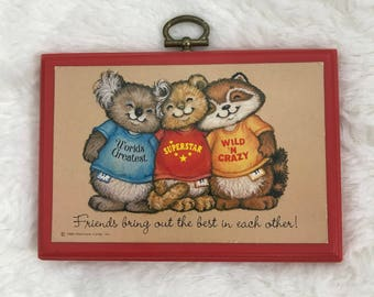 Vintage Hallmark 1980 Shirt Tails Friendship Plaque - Gift for Friend - Small Wall Art