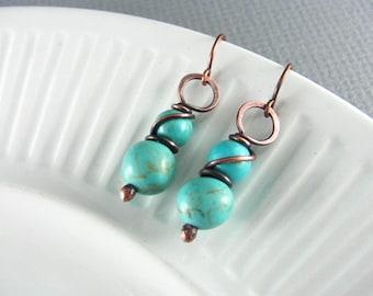 Wire Wrapped Earrings Turquoise Earrings Copper Earrings Wire Wrapped Jewelry Copper Wire Earrings Boho Jewelry Turquoise Jewelry