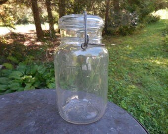 Vintage 1930s to 1950s Hazel Atlas Clear Embossed Glass Canning Jar Wire Bail Retro Kitchen Storage Farmhouse E - Z Seal