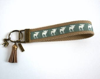 ALASKA Keychain Wristlet | Key Fob Wristlet | Key Chains | Key Fob Holder | Badge Holder | Moose | Perfect Gift for Any Occasion