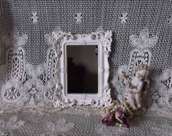 Small shabby white, baroque style wall mirror, teastained and distressed