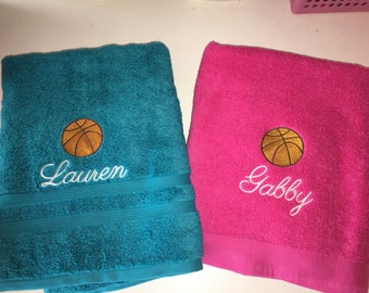 Personalized Basketball Sports Ball Bath Towel Embroidered Monogram