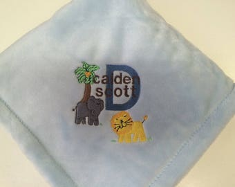 Embroidered Jungle Safari Animals Baby Blanket Personalized Free