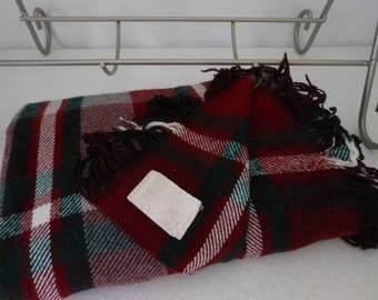 TROY Vintage Wool Blend Throw Blanket Kelly Green Wine White Plaid
