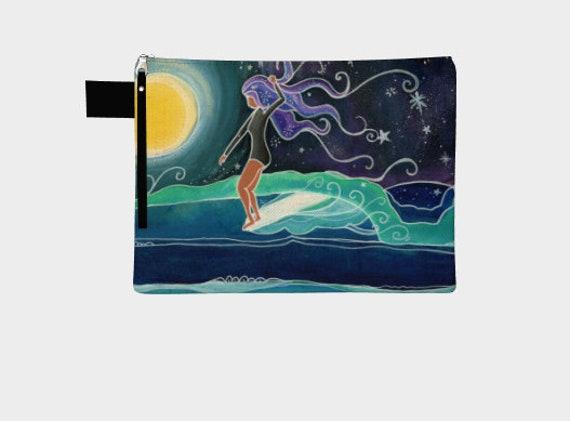 Canvas Zipper Bag Carry-Alls Bikini Bag Surf Art Beach Lover by Lauren Tannehill ART