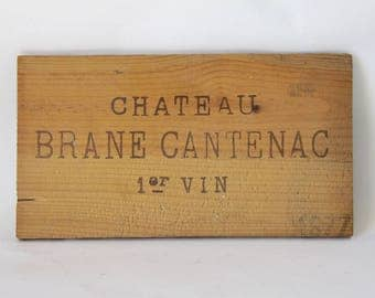 French Vintage Wine Crate Front,  Wine Panel, Château Brane-Cantenac Margaux appellation of the Bordeaux wine region of France 1977