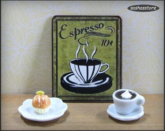 Miniature coffee advertising sign, 1:12 dollhouse miniature wooden sign, coffee shop sign