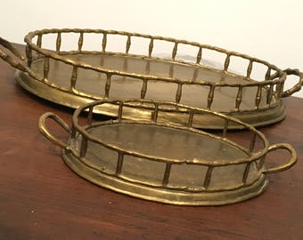 Pair of Brass Oval Handled Trays, Beauty Trays