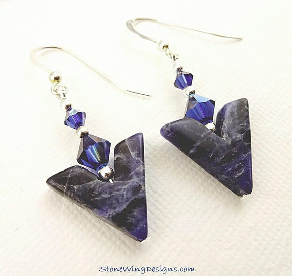 Blue Gemstone Earrings, Sodalite Earrings, Gemstone Earrings, Chevron Earrings, Gemstone V Earrings, Eclectic Earrings,  Unique Everyday