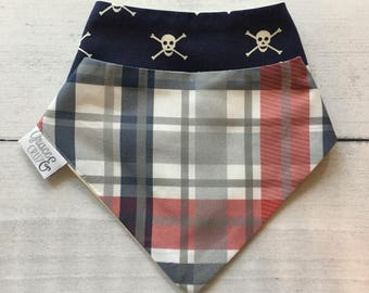 FREE US SHIPPING Bandana Bibs (set of 2) in Madras Plaid in red + navy + grey and Jolly Roger Navy Skulls// Nautical Baby Boy