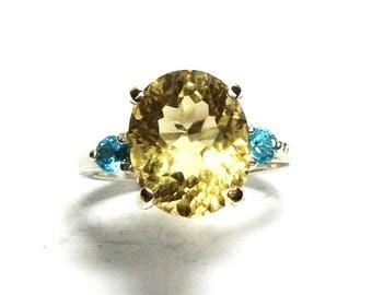 "Citrine, golden citrine, 3 stone ring, yellow blue ring, birthstone ring,  s 6 1/2  ""Pineapple Fizz"""