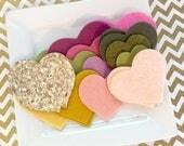 Wool Felt hearts grab bag - glitter fabric hearts - gold glitter fabric hearts - pink felt hearts - green wool felt hearts - H1