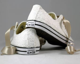 Ivory Lace Wedding Converse -Ivory Lace Bridal Converses --Ivory Lace Converse -- Wedding Tennis shoes