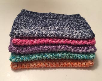 5 large dish cloths/ dish rags/ wash cloths made of 100% cotton yarn in Beautiful Fun Colors