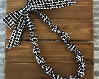 Houndstooth Fabric Bead Necklace