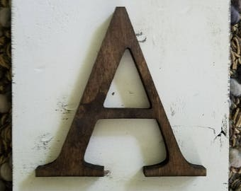 Farmhouse Style letter A Hanging Wood letter sign- Wall  hanging letter READY TO SHIP A