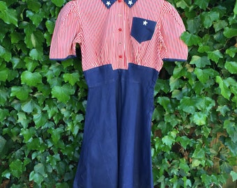 Vintage 1930s cotton dress/ 30s Independence Day dress/ xs