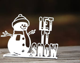 Let It Snow Metal Word Stand