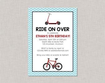 Bike Birthday Invitation, Scooter Birthday Invitation, Park Birthday Invitation, Printable