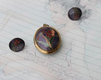 Vintage Cloisonne Locket and Earrings