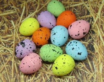Foam eggs mini 12pcs speckled Miniature Easter decorations 20mm x 15mm craft supply deco mixed pastel colors fairy garden decoden kawaii