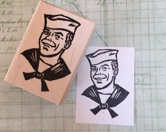 Grinning Sailor Rubber Stamp