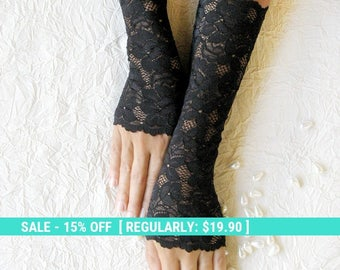 Summer Sale SALE Fingerless gloves lace black,,prom  FREE SHIPPING