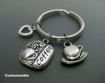 Coffee Keychain / Coffee Lover Keychain / Gift for Coworker / Coffee Addict Keychain / Coffee Key Ring / Cup Of Coffee / Office Gift