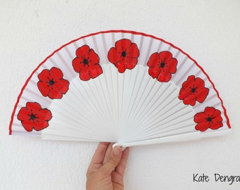 White with Red Poppy Hand Fan Flowers SIZE OPTIONS Folding Wooden Handheld Flamenco Fan Made to Order