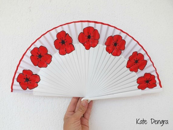 White with Red Poppy Hand Fan