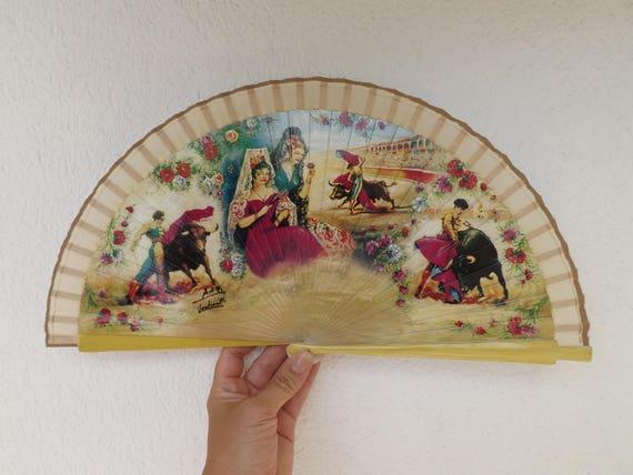 Traditional Souvenir Bullfight Flamenco Design Spanish Hand Fan Limited Edition