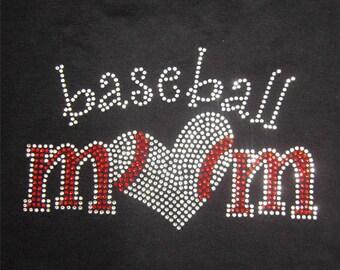 Baseball  Mom Heart Rhinestone Iron On Transfer
