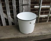 Vintage Antique Enamelware Bucket with Wood Handle Us as Planter
