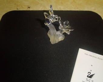 vintage retired swarovski crystal bumblebee on flower mint in box