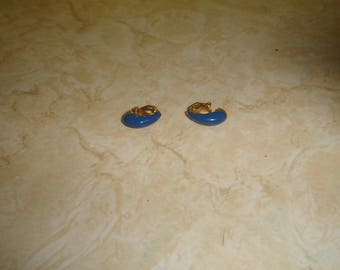 vintage clip on earrings goldtone blue enamel