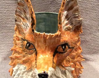 Fox Face Vase or planter handmade in U.S. from a lump of clay